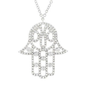 14k white gold diamond hamsa hand necklace hand hamsa diamond image is loading 14k white gold diamond hamsa hand necklace hand mozeypictures Gallery