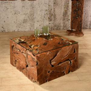 Wurzelholz Tisch Elements 70x70 Couchtisch Wohnzimmertisch Teakholz