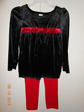 Girls NWT 2 Piece Pant Suit Holiday Black Top With Red Pants Size XS 4-5