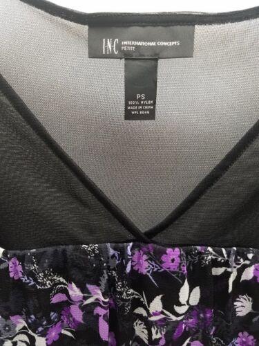 INC Women/'s Petite Assort Sizes Black Peasant Tops Sheer Neckline Floral Print