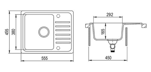 Siphon Einbauspüle Küchenspüle KÜCHE Becken LINDBERGH® Granit Spüle inkl