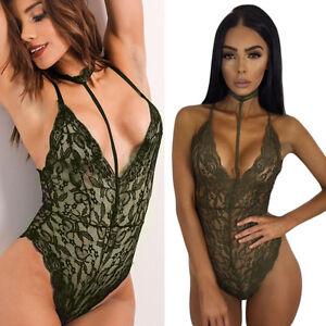 2668df4785db Bodysuit V Neck Army Green Sheer Floral Lace Teddy Sleepwear ...