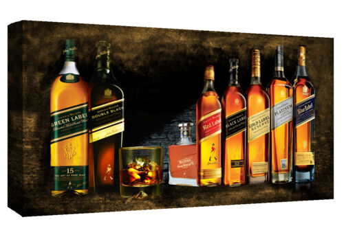 All Sizes Johnnie Walker Whiskey Bottles Cotton Canvas Wall Art Picture Print