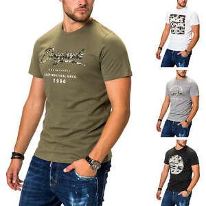Jack-amp-Jones-T-Shirt-Hommes-Print-Shirt-manches-courtes-shirt-top-stretch-col-rond-shirt