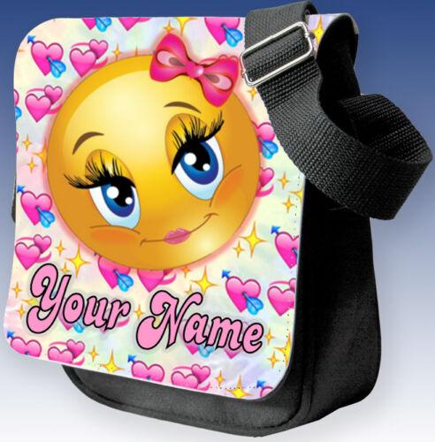 Emoji Pink Kids Ladies Girls Boys Black Shoulder Bag Hand Bag School Great Gift