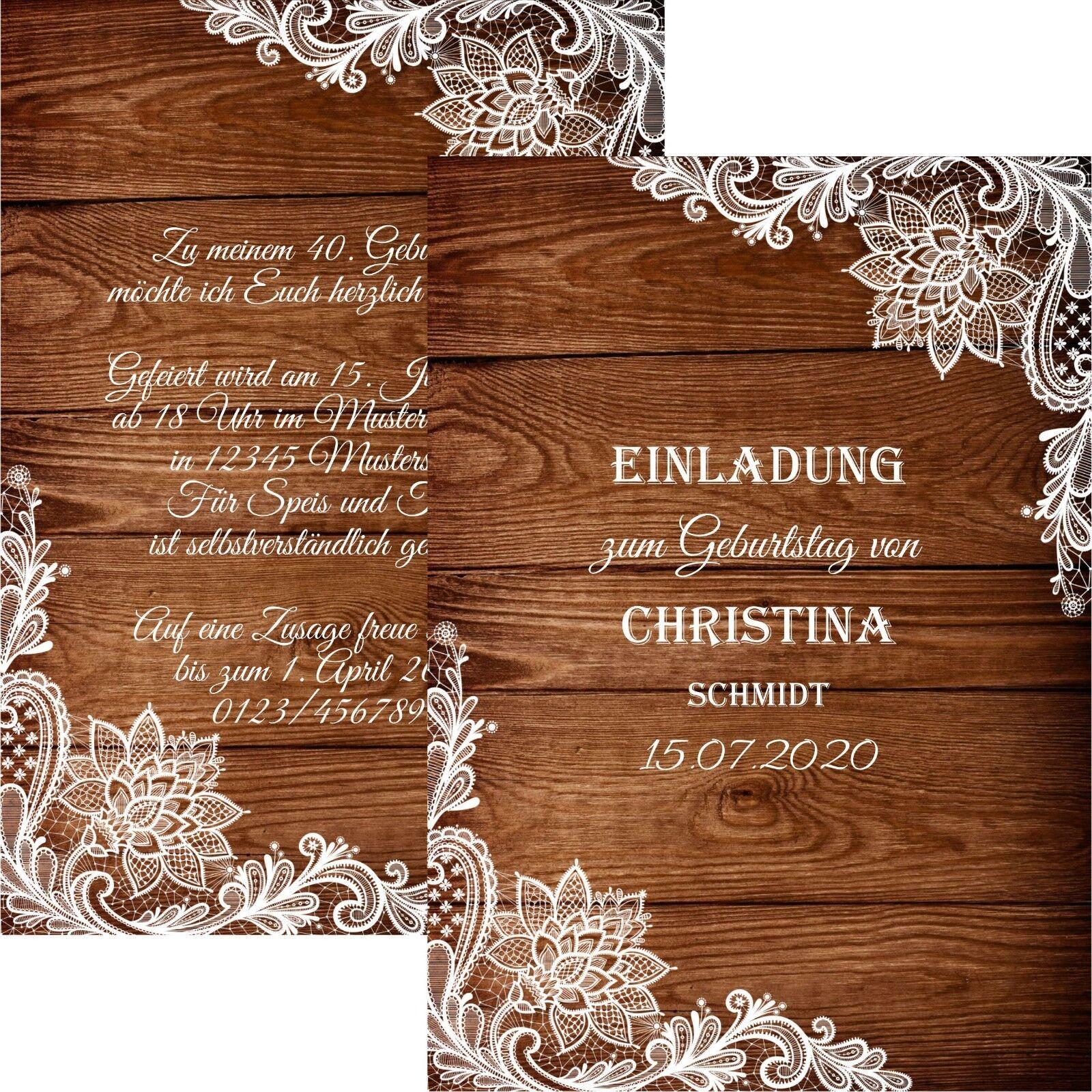 Elegante Einladungskarten zum Geburtstag edel Einladung Spitze   | Hohe Qualität  | Preisreduktion