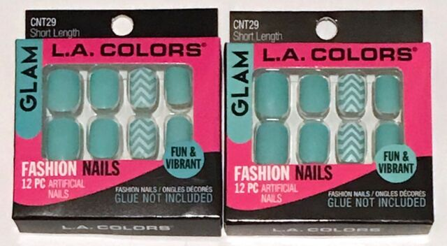 La Colors Glam 12 PC Artificial Fashion Nails Press Glue On