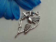 Antique Silver Hummingbird Charms 10pcs Steampunk Vintage Pendants Kitsch