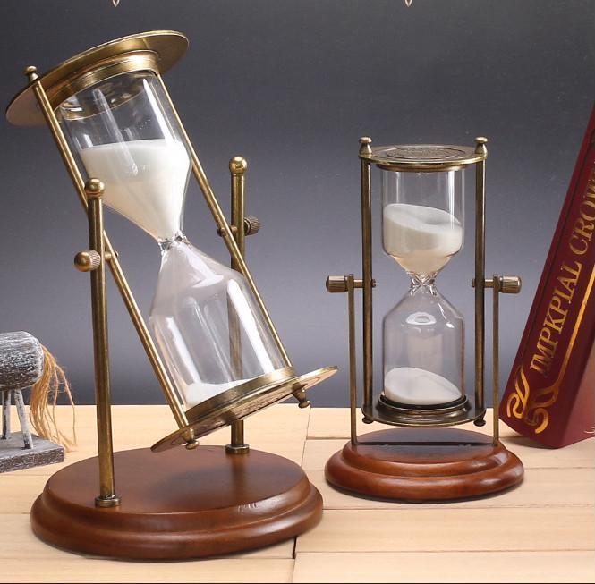 15 30 minutes verre hourglass Cadre en Bois Sable Minuterie Horloge Décoration Anniversaire Jour
