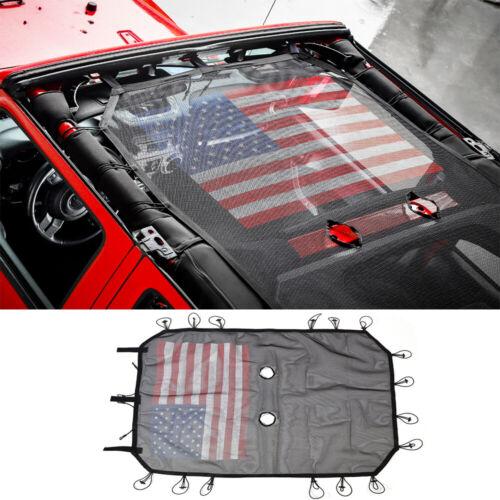Sun Shade Screen Top Cover UV Ray Mesh For Jeep Wrangler Jk 07-17 4-Door US flag