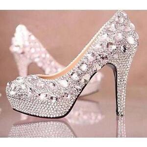 Women\'s Crystal Glitter Rhinestone High Heels Wedding Party Dress ...