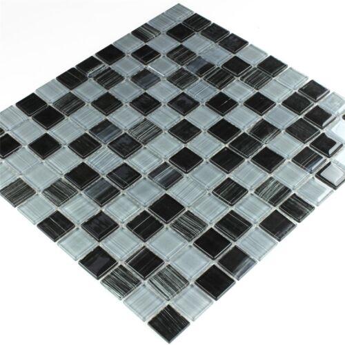 Glasmosaik Fliese Strich Schwarz Weiß 25x25x4mm