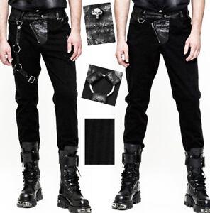 Details zu Steampunk Hose Gothic Dandy Jacquard Leder Harness Riemen PunkRave Herren Schwar