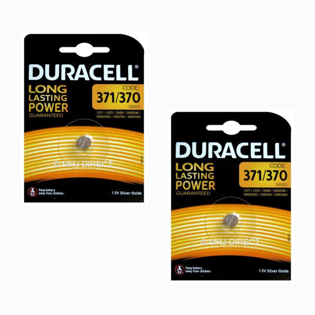 2 x Duracell 371 SR920SW 370 SR920W AG6 SR69 D371 Watch Battery Silver Oxide