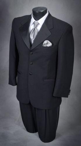 42 L Black Tuxedo Coat Pant Shirt Vest Bow tie links Complete Tuxedo Nice Cheap