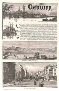 Cardiff-1886-Genuine-Antique-print-Wales-St-Mary-039-s-Street-Historical-Shipping