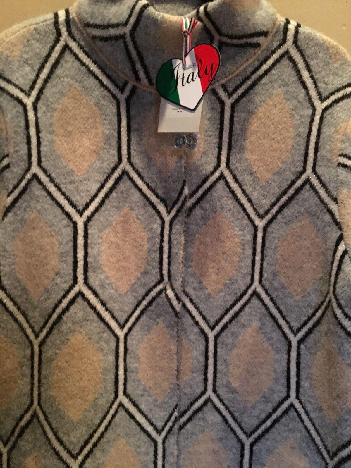 Oriana Multi color Long Geometric Wool Blend Sweater Sweater Sweater Sz L XL NWT Made in  fbf1b9