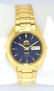 ORIENT-3-Star-Automatic-Gold-Tone-Watch-Mens-watch-FAB00002D9-Dark-Blue-Dial-NEW