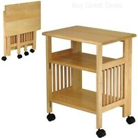 Kitchen Storage Wood Table Cart Microwave Printer Shelf Stand Folding Portable