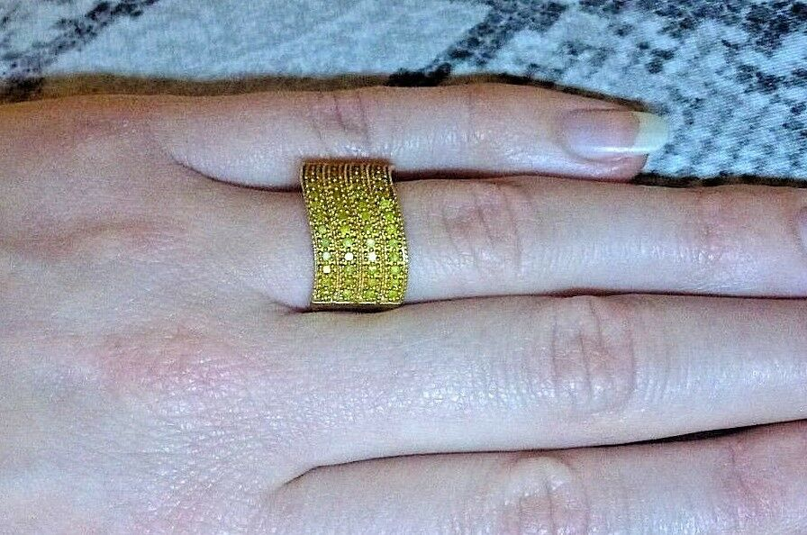 0.5 ct Natural Yellow Diamond 9K Solid Yellow gold Ring Size 7