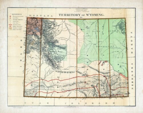 1876 Department Interior MAP Territory of Wyoming Geographical political 10