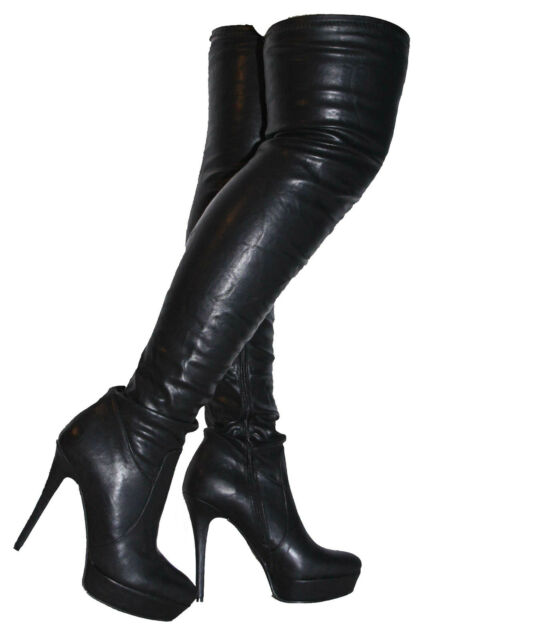 New Black Over Knee Thigh High Heel Stiletto Platform Stretchy Boots 3 36