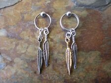 """-Lot of 2-Feathers Cartilage Piercing Captive Ring Tragus Earring 16 Gauge 1/2"""""""