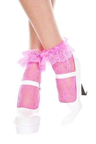 Femmes dentelle fleurie Bracelet Mode Cheville Chaussettes avec Frill Ruffle 4 UK 7
