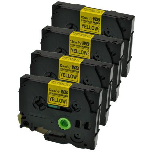 4 Schriftbänder kompatibel zu Brother P-Touch TZE-S631 8m//12mm Schwarz auf Gelb