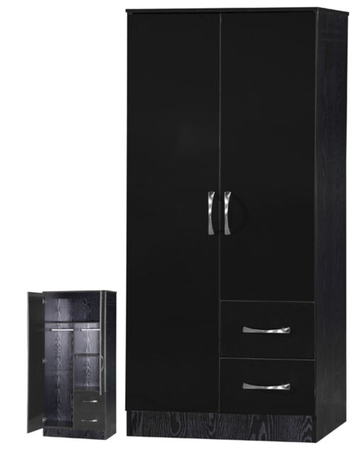 Marina High Gloss Black Combi Wardrobe 2 Door 2 Drawer - Bedroom Furniture
