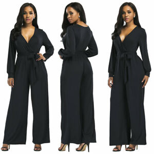 c062654e550 Women V-neck Playsuit Bodycon Long sleeve Wide Leg Jumpsuit Romper ...