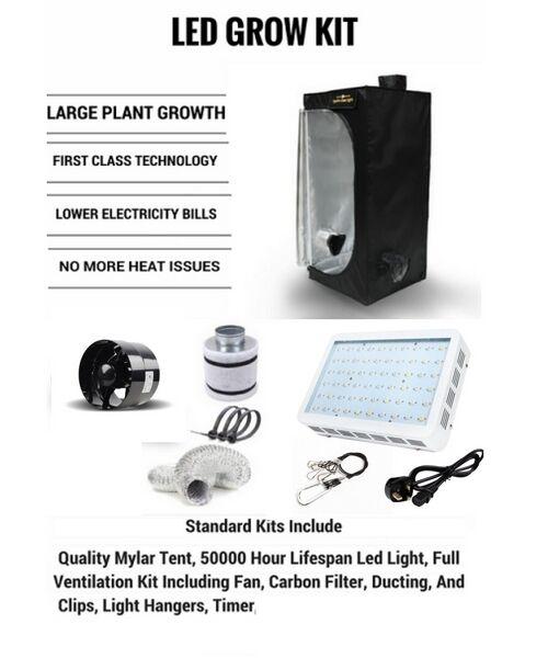 LED Grow Tent Kit, Indoor Led Grow system, Basic Led kit, Tent, Fan, Filter etc