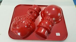 Crate and Barrel Snowman Cake Pan NEW Red with tag