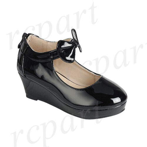 New girl/'s formal dress Wedge wedding round close toe shoes back zipper Black