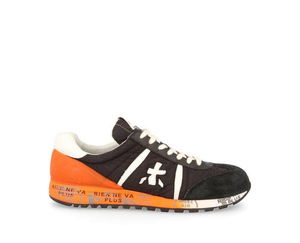 Premiata - Zapatos de Hombre Casual Negro + Naranja Lucy 3758 Ss19