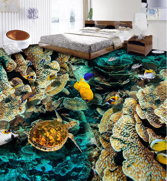 3D Coral Reef Fish 4 Floor WallPaper Murals Wall Print Decal AJ WALLPAPER Summer