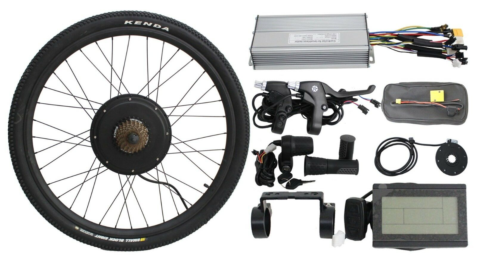 48V 1500W 26  Threaded Rear Wheel Ebike Conversion Kit with Sine Wave Controller