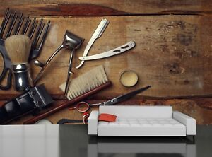 Details About Vintage Tools Of Barber Shop Photo Wallpaper Wall Mural Decor Paper Poster