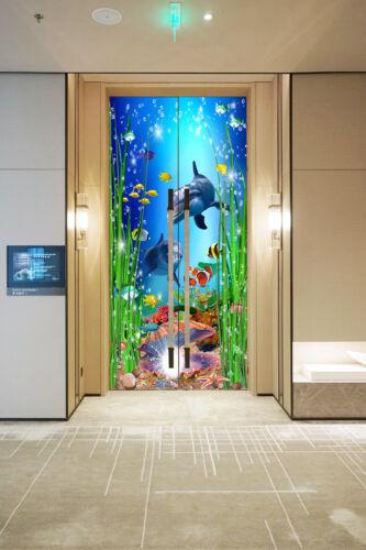 3D Shell Dolphin Self-Adhesive Door Mural Wall Sticker Poster Kids Bedroom Decor
