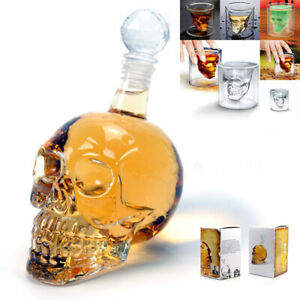 Glass-Skull-Head-Cup-Vodka-Shot-Whiskey-Wine-Tea-Drinking-Shot-Bottle-Decanter