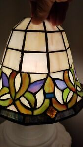"""Vintage laitier stained glass lamp shade Arts & Crafts Mission Pendentif torchère 1 5/8"""""""