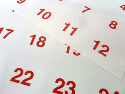 Red on Clear 40mm Round Consecutive Sequential Number Labels Numbering Stickers