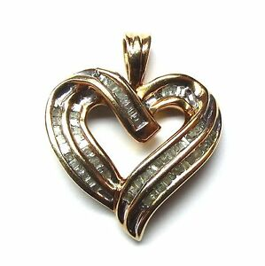10kt Yellow Gold & Diamond Vintage Estate Heart Pendant