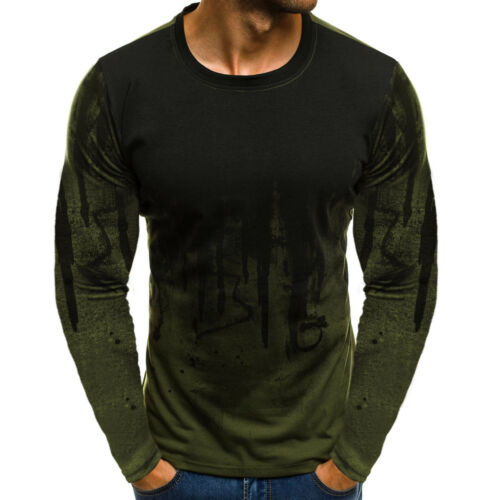 Mens Long Sleeve Pullover Casual Fitness Tops Blouse Basic Tee Bottom T-Shirts