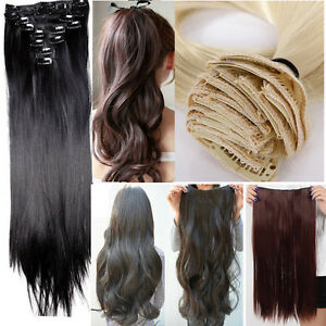 23-full-head-8-pcs-set-clip-in-hair-extensions-8-wefts-for-women-lady-AU-Seller