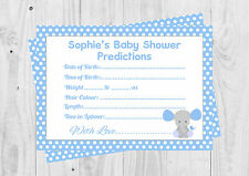 PERSONALISED Baby Shower Prediction Cards, Baby Shower Game, Blue, Elephant, Boy