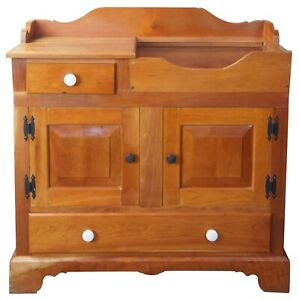 Primitive-Early-American-Style-Solid-Cherry-Country-Dry-Sink-Bar-Kitchen-Cabinet