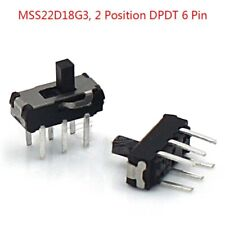 50pcs SK22D07 6Pin Toggle Vertical Slide Switch 2P2T 4mm Handle for PCB Mount