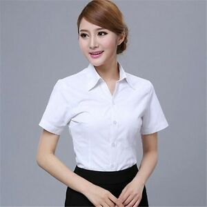 Hot Womens Casual Slim Fit Button Front Top Short Sleeve Dress ... 0974507c0