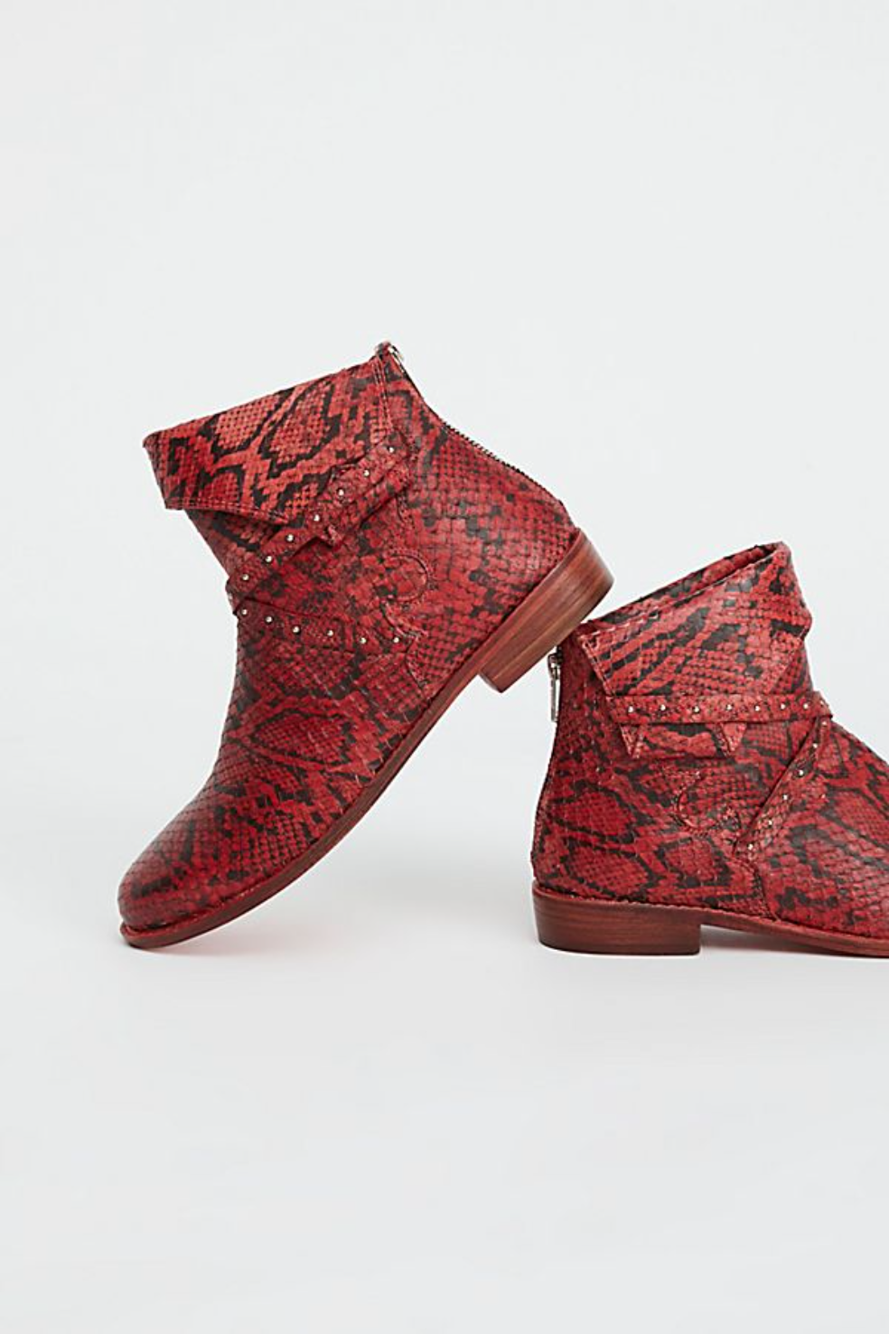 FREE PEOPLE RED RED RED ALAMOSA SLOUCHY LEATHER CUFFED STUDDED ANKLE BOOT EU 38   8 5556e0